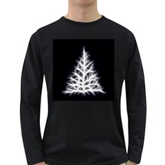 Christmas Fir, Black And White Long Sleeve Dark T Shirts