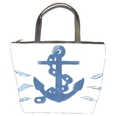 Blue Anchor,  Aquarel Painting Art Bucket Bags by picsaspassion
