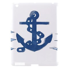 Blue Anchor,  Aquarel Painting Art Apple Ipad 3/4 Hardshell Case (compatible With Smart Cover)