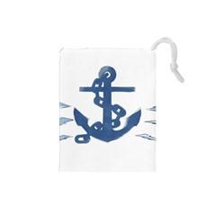 Blue Anchor,  Aquarel Painting Art Drawstring Pouches (small)  by picsaspassion