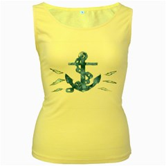 Anchor Aquarel Painting Art, Soft Blue Women s Yellow Tank Top by picsaspassion