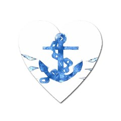 Anchor Aquarel Painting Art, Soft Blue Heart Magnet by picsaspassion
