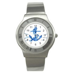 Anchor Aquarel Painting Art, Soft Blue Stainless Steel Watch by picsaspassion
