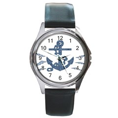 Anchor Pencil Drawing Art Round Metal Watch by picsaspassion