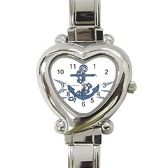 Anchor Pencil Drawing Art Heart Italian Charm Watch by picsaspassion