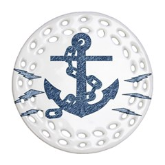 Anchor Pencil Drawing Art Round Filigree Ornament (2side)