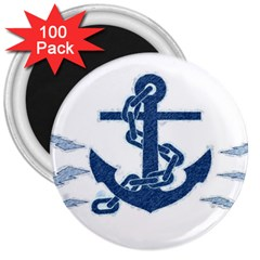 Blue Anchor Oil Painting Art 3  Magnets (100 Pack)