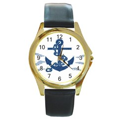 Blue Anchor Oil Painting Art Round Gold Metal Watch by picsaspassion