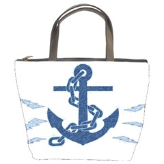 Blue Anchor Oil Painting Art Bucket Bags by picsaspassion