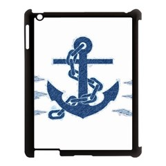 Blue Anchor Oil Painting Art Apple Ipad 3/4 Case (black) by picsaspassion