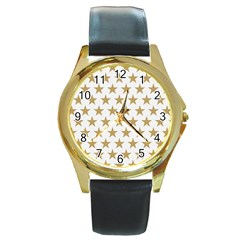 Golden Stars Pattern Round Gold Metal Watch by picsaspassion