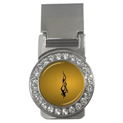 Flame Black, Golden Background Money Clips (cz)