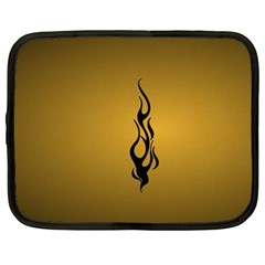 Flame Black, Golden Background Netbook Case (xxl)  by picsaspassion
