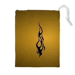 Flame Black, Golden Background Drawstring Pouches (extra Large) by picsaspassion