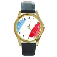 Tricolor Banner France Round Gold Metal Watch by picsaspassion