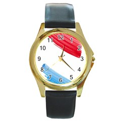 Tricolor Banner Watercolor Painting, Red Blue White Round Gold Metal Watch by picsaspassion