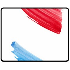 Tricolor Banner Watercolor Painting, Red Blue White Fleece Blanket (medium)  by picsaspassion