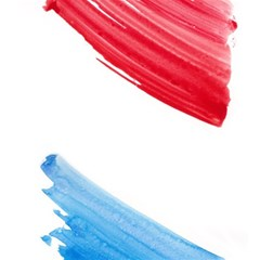 Tricolor Banner Watercolor Painting, Red Blue White Magic Photo Cubes by picsaspassion