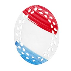 Tricolor Banner Watercolor Painting, Red Blue White Oval Filigree Ornament (2 Side)  by picsaspassion
