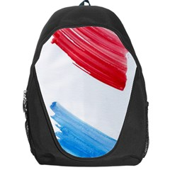Tricolor Banner Watercolor Painting, Red Blue White Backpack Bag by picsaspassion