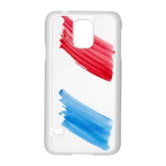 Tricolor Banner Watercolor Painting, Red Blue White Samsung Galaxy S5 Case (white)