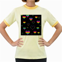 Rainbow Harts Women s Fitted Ringer T Shirts