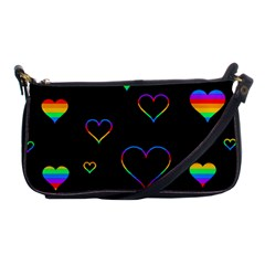 Rainbow Harts Shoulder Clutch Bags by Valentinaart