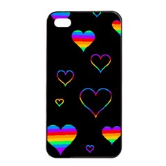 Rainbow Harts Apple Iphone 4/4s Seamless Case (black) by Valentinaart
