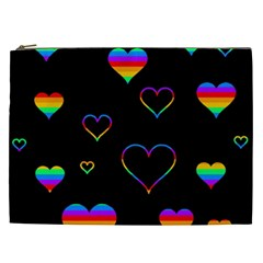 Rainbow Harts Cosmetic Bag (xxl)  by Valentinaart