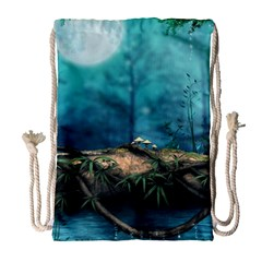 Mysterious Fantasy Nature Drawstring Bag (large) by Brittlevirginclothing