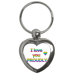 I Love You Proudly 2 Key Chains (heart)  by Valentinaart