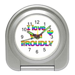 I Love You Proudly 2 Travel Alarm Clocks by Valentinaart