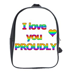 I Love You Proudly 2 School Bags(large)  by Valentinaart