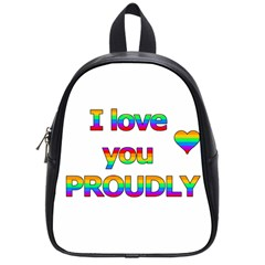 I Love You Proudly 2 School Bags (small)  by Valentinaart