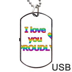 I Love You Proudly 2 Dog Tag Usb Flash (one Side) by Valentinaart