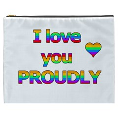 I Love You Proudly 2 Cosmetic Bag (xxxl)  by Valentinaart