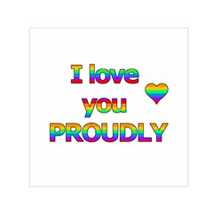 I Love You Proudly 2 Small Satin Scarf (square) by Valentinaart