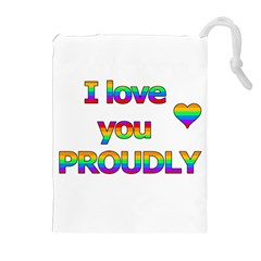 I Love You Proudly 2 Drawstring Pouches (extra Large) by Valentinaart
