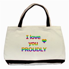 Proudly Love Basic Tote Bag (two Sides) by Valentinaart