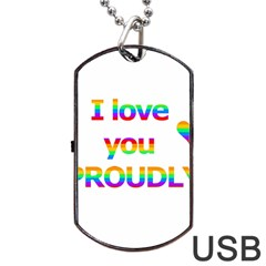 Proudly Love Dog Tag Usb Flash (two Sides)  by Valentinaart