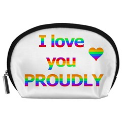 Proudly Love Accessory Pouches (large)  by Valentinaart