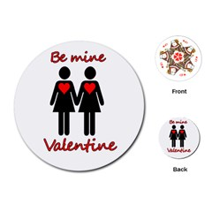 Be My Valentine 2 Playing Cards (round)  by Valentinaart