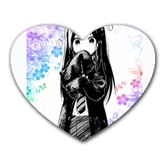 Shy Anime Girl Heart Mousepads by Brittlevirginclothing