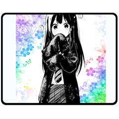 Shy Anime Girl Double Sided Fleece Blanket (medium)  by Brittlevirginclothing