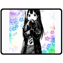 Shy Anime Girl Double Sided Fleece Blanket (large)  by Brittlevirginclothing