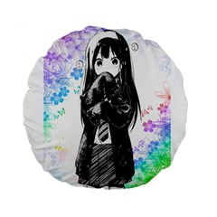 Shy Anime Girl Standard 15  Premium Flano Round Cushions by Brittlevirginclothing