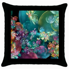 Butterflies, Bubbles, And Flowers Throw Pillow Case (black) by WolfepawFractals