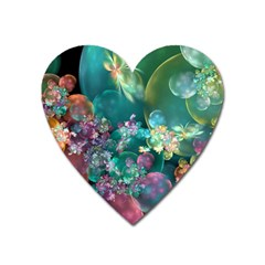 Butterflies, Bubbles, And Flowers Heart Magnet by WolfepawFractals