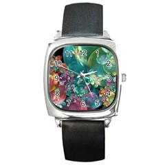 Butterflies, Bubbles, And Flowers Square Metal Watch by WolfepawFractals