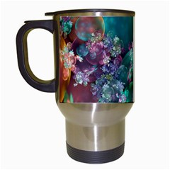 Butterflies, Bubbles, And Flowers Travel Mugs (white) by WolfepawFractals